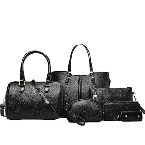 Damen 6-teilige Mutter Handtasche Handtasche Umhängetasche Diagonal Paket Tasche Brieftasche Karte Tasche Nieten Kleine Quadratische Tasche Wölbung Black