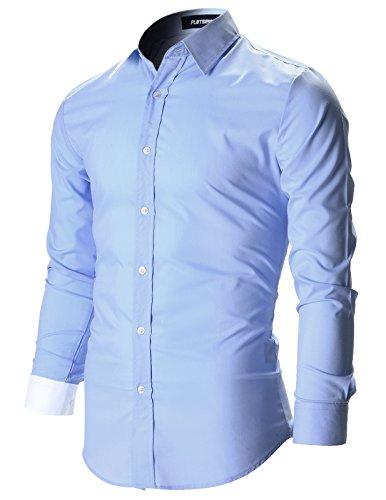 FLATSEVEN Chemise Slim Fit Designer Habillée Homme SH115 Bleu Pâle