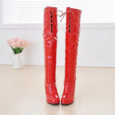 Rtry Cuir Verni Femmes Chaussures Mode Hiver Bottes Bottes Bout Rond Sur Des Bottes Au Genou Pour Party & Amp; Sera Rouge Blanc Noir Us3.5 / Eu33 / Uk1.5 / Cn32