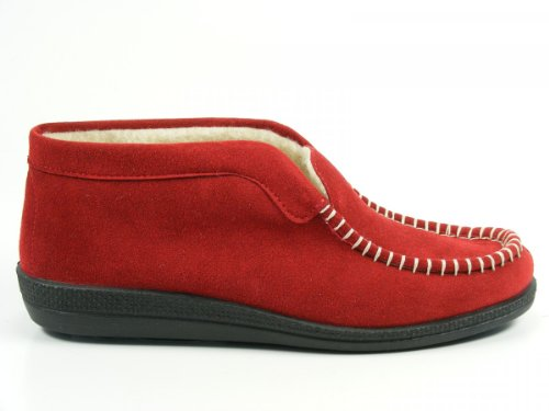 Rohde 217643 Medoc Fleece and Fur Lined, Chaussons femme Rouge