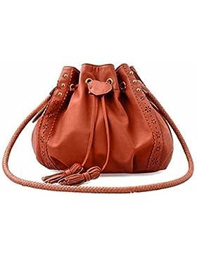 Handtasche Damen Btruely Mädchen Schultertasche Messenger Taschen Vintage Tasche Damen Leder Umhängetasche (Braun)