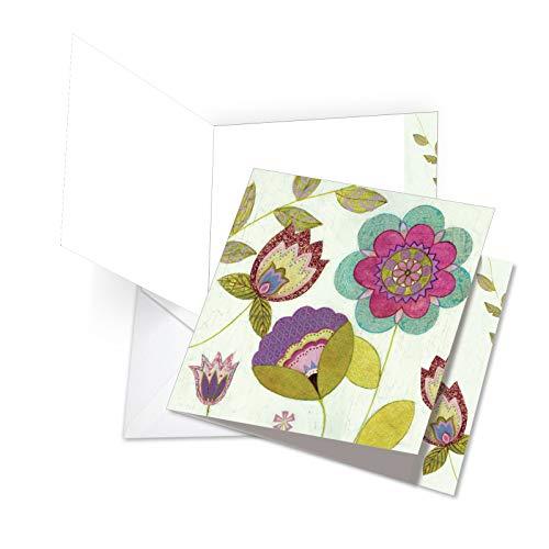 jq4246ctyg New Jumbo Thank You square-top Karte: gemustert Blütenblätter mit leuchtenden und heiteren Blumenmuster Bilder, gemustert, mit Umschlag (Extra Groß Größe: 21,6x 24,8cm) Le Top Tulip