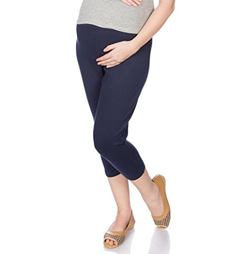 Goldstroms Women's Maternity Capri (Navy Blue, L)