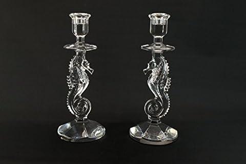 2 Waterford Seahorse Prestige Candlesticks Cut Glass Crystal Irish