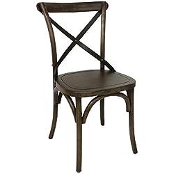2x silla de comedor de madera Bolero con Metal cruz respaldo 470mm restaurantes Cafe