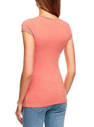 oodji Ultra Damen T-Shirt mit Floralem Druck Rot (4345P)