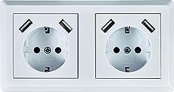 Schuko Doppelsteckdose mit je 2 x USB Ladebuchse (max. 2.1A) weiß, passt in 2-fache Unterputzdose