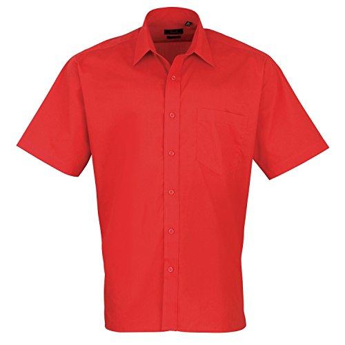 Premier Workwear Herren Businesshemd Poplin Short Sleeve Shirt Erdbeerrot