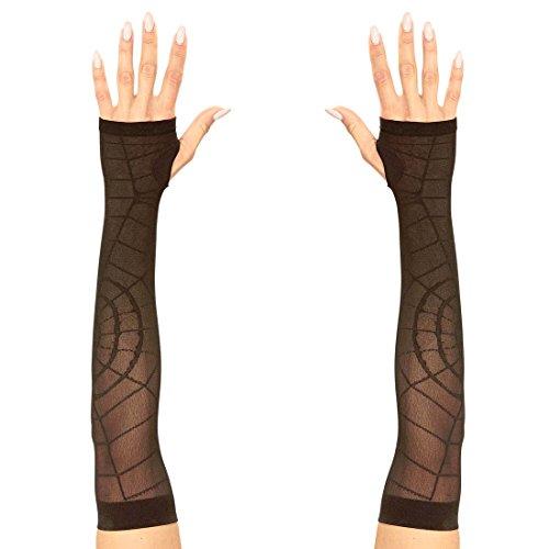 Amakando Gothic Armstulpen Lange Spinnennetz Handschuhe schwarz Damenhandschuhe Spinne Halloween Spinnen Handstulpen Halloween Kostüm Accessoires Hexen Pulswärmer Damen
