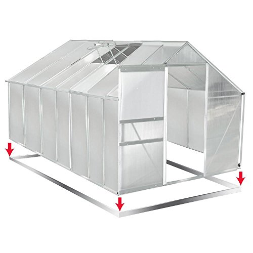 Gewächshaus Aluminium mit Stahlfundament 16,07m³ Treibhaus Glashaus Pflanzenhaus Tomatenhaus 6mm Platten L 250 x B 430 x H 205cm