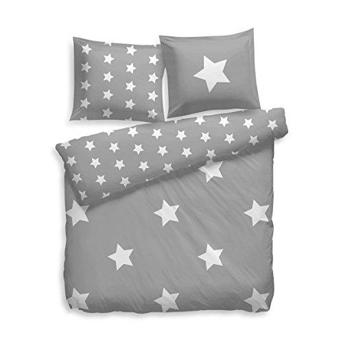 F2F Bettwäsche Flanell Stars Sterne I Größe 135x200 80x80 cm I Farbe Grau-Weiss I Baumwolle I Reißverschluss