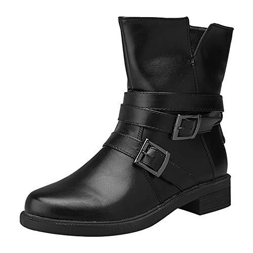 ache Kurze Booties Schnalle Leder Stiefel Schuhe Ankle Boot ()