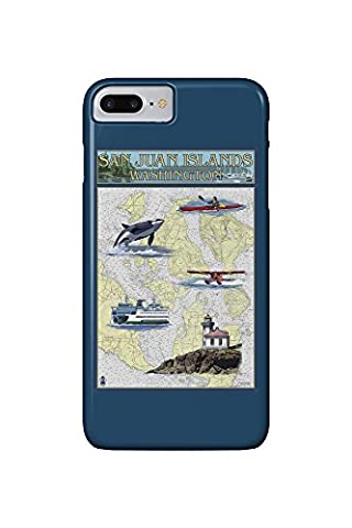 San Juan Islands, Washington - Nautical Chart (iPhone 7 Plus Cell Phone Case, Slim Barely There)
