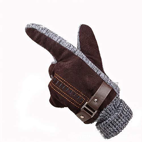 LIBINFAN Plus Velvet Thick Cotton Outdoor REIT Winddicht Rutschfeste Handschuhe (Farbe : Braun)