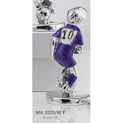 Figura Jugador Fútbol Escuadra Fiorentina H. Cm 10esmaltada laminado plata Made in Italy con caja