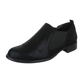 Klassische Halbschuhe Damen-Schuhe Oxford Blockabsatz Komfort Ital-Design Halbschuhe Schwarz, Gr 37, K-163-