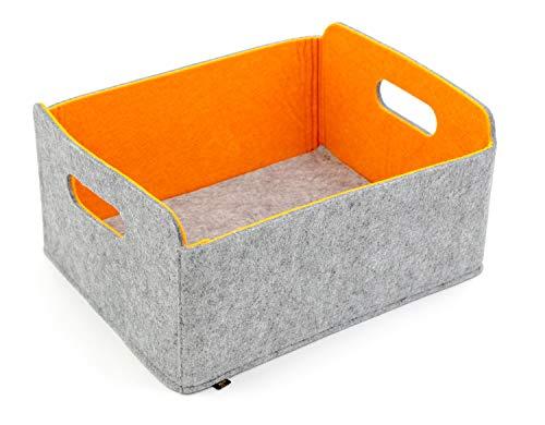 Luxflair Hochwertiger, Faltbarer Aufbewahrungskorb aus edlem, zweifarbigem Filz in Graumeliert/orange. Aufbewahrungskorb, Ordnungsbox, Regalbox, Faltbox, Spielzeugkorb, Filzkorb, Briefkorb.