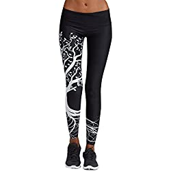 ❤ Femmes imprimées Sport Yoga entraînement Gym Fitness Exercice athlétique Pantalon Slim Jeans Combinaisons Short Collants Leggings Knickerbockers (S,Noir)