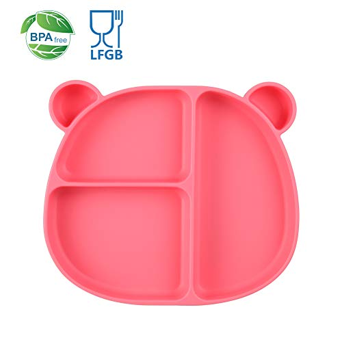 Homvik Plato de Silicona con Ventosa para Bebé Mantel Individual para Bebe Niños Plato Antideslizante Plato de Alimentación para BLW (Rosa)
