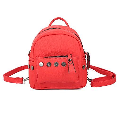 Longra Donna Mini Backpack Rivet Rosso