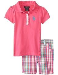U.S. Polo Assn. Baby-Girls Infant 3piezas–Polo y Plaid Bermudas, Rosa Kite, 12Meses Color: Rosa Kite Tamaño: 12Meses infantil, bebé, niño