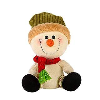 Bibao Christmas Green/Red Hat Stripe Scarves Snowman Plush Toys, Kids' Gift (A)