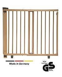 Geuther - Schwenk-Türschutzgitter 2734, für Kinder, Hunde und Katzen, Made in Germany, Befestigung in der Tür oder vor der Tür, zum bohren, Holz, natur, 86 - 133 cm, TÜV geprüft