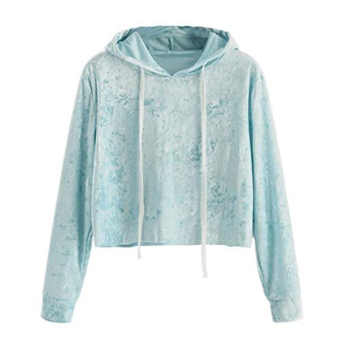 TWIFER Damen 2018 Neue Gedruckt Langarm Kurze Sweatshirt Hoodies Crop Pullover Herbst (S, Himmelblau) -