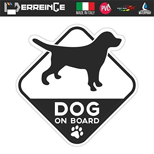 erreinge Sticker GEFORMT 12cm - Hund an Bord Dog on Board - Aufkleber Decal Vinyl Wandgemälde Laptop Auto Motorrad Helm Wohnmobil