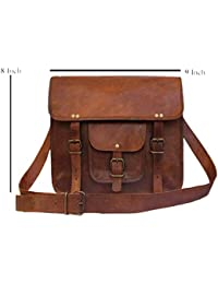 Handcraft'S Genuine Leather Vintage Brown Look Small Messenger Bag