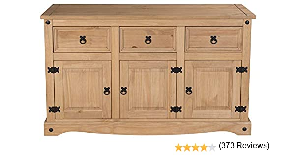 Corona buffet 3 tiroirs 3 portes mexicain massif ciré pin armoire mobilier meuble