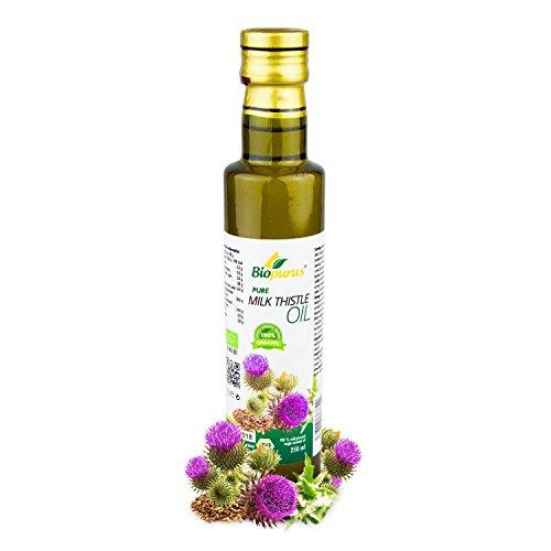 zertifiziertes Bio kaltgepresst Mariendiestel Samenöl 250ml biopurus (Leber Ton)