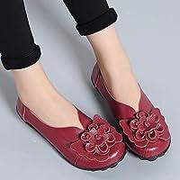 Zapatos De Mujer Suave Cuero Real Plano Suela De Caucho Slip En Bajo El Talón 3D