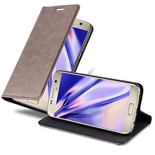 Cadorabo Hülle für Samsung Galaxy S7 - Hülle in Kaffee BRAUN - Handyhülle mit Magnetverschluss, Standfunktion und Kartenfach - Case Cover Schutzhülle Etui Tasche Book Klapp Style