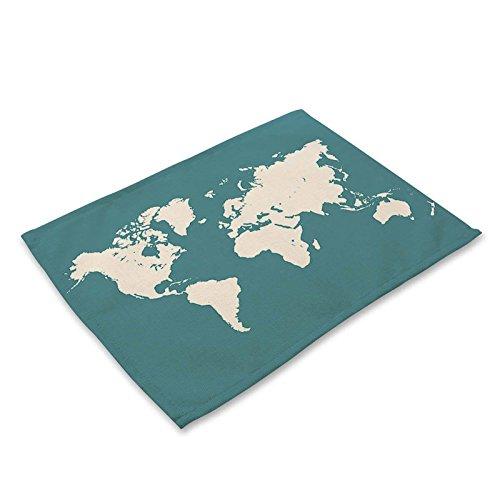 ltkarte Muster Kreative Baumwolle Leinen Tischsets Für Tisch Set Wohnaccessoires Abendessen Küche Pad Kaffee Untersetzer Matten, 1 ()