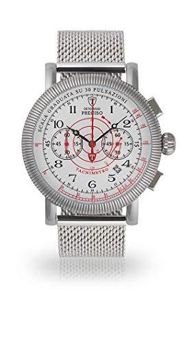 Detomaso preciso de Hombre Reloj de Pulsera Cronógrafo analógico de Cuarzo silbernes Milanaise Pulsera Esfera Blanca dt1063de D de 857