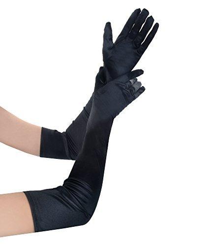 JISEN mujeres Formal de Novia de satén banquete boda fiesta Opera guantes largo de regalo 22pulgadas - negro -
