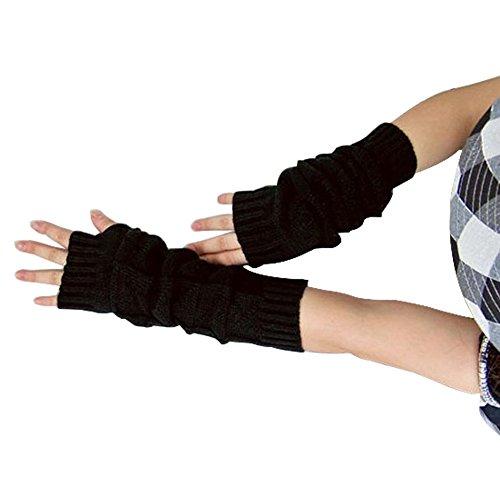 Unisex Winter Gestrickte Handschuhe, Fingerlose Armstulpen Feinstrick lang Handwärmer Stulpen, Warm Strick Handschuhe Pluswärmer Handstulpen Armwärmer Stulpen für Damen Herren (Schwarz) (Stricken Handschuh Unisex)