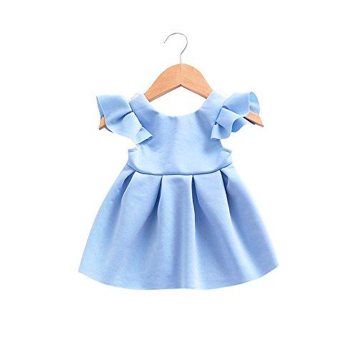 JUTOO Kleinkind Baby mädchen Bogen Knoten rückenfreies Kleid Prinzessin Outfits Kleidung Spitzenkleid (Blau, ()