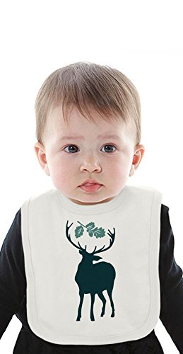 Deer with leaves Organic Baby Bib With Ties Medium -