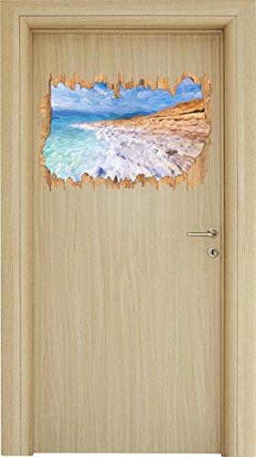 Das Tote Meer bei Tag Pinsel Effekt Holzdurchbruch im 3D-Look , Wand- oder Türaufkleber Format: 62x42cm, Wandsticker, Wandtattoo, Wanddekoration (Natürlicher Strand Tote)