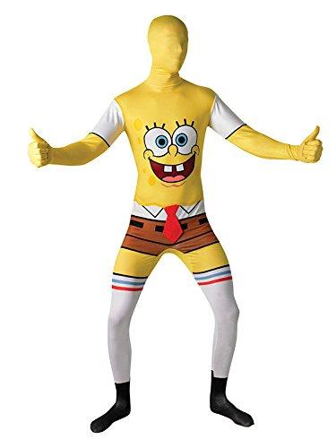 SpongeBob Second Skin Suit Lizenzware gelb weiss (Spongebob Halloween Kostüme)
