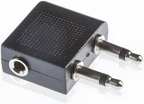 Poppstar Audio Flugzeug Adapter 2x 3,5 mm Mono Stecker auf 3,5 mm Stereo Buchse, Stereo Kopfhörer im Flugzeug anschließen