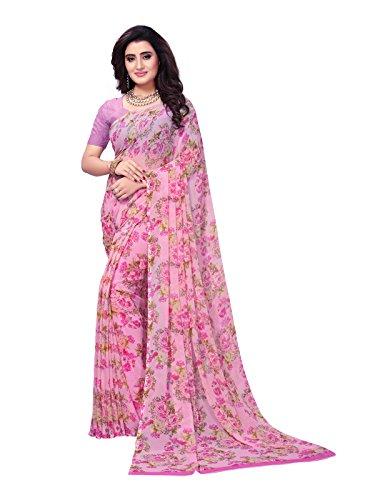Kanchnar Women's Pink Color Georgette Printed Saree-758S153