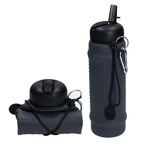 elasto Faltbare Trinkflasche mit Karabiner 700ml BPA-Freie Auslaufsichere Wasserflasche aus Silikon Platzsparende Sportflasche zum Drücken ideal für Festivals, Campen, Wandern oder Sport (Grau)