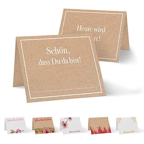 Partycards 50 Tischkarten/Platzkarten DIN A7 für Hochzeit, Geburtstag, Kommunion, Taufe (Kraftpapier + Schön, DASS du da bist!)