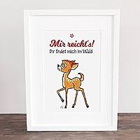 Bild, Poster, Kunstdruck, Deko, handgezeichnet Bambi