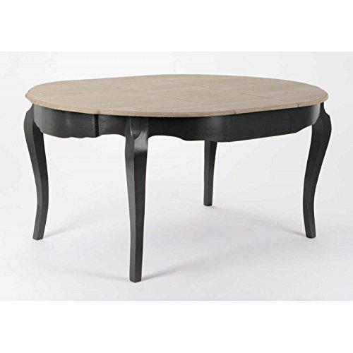 Table ronde à rallonge galbée 2 tons 160 cm CELESTINE