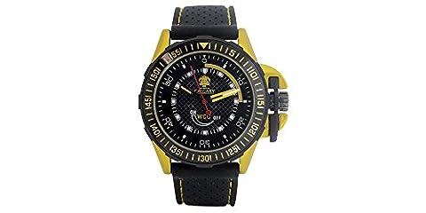 Uhren Calgary GP Racing Yellow. Sportuhren für Herren, schwarzes Kautschuk, Schwarz und Gelb Zifferblatt