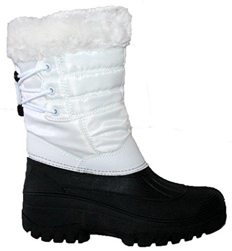 Neue Damen Reiten Yard Wasserdicht Stabile Walking Regen Schnee Winter Ski Warm Farm Mucker Boots, Weiß - Weiß - Größe: 40.5 (Damen Stiefel Winter Neue)